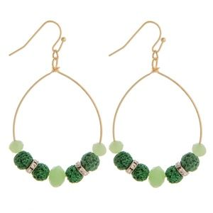 NWT**BOUTIQUE** SHADES of GREEN BEADED EARRINGS